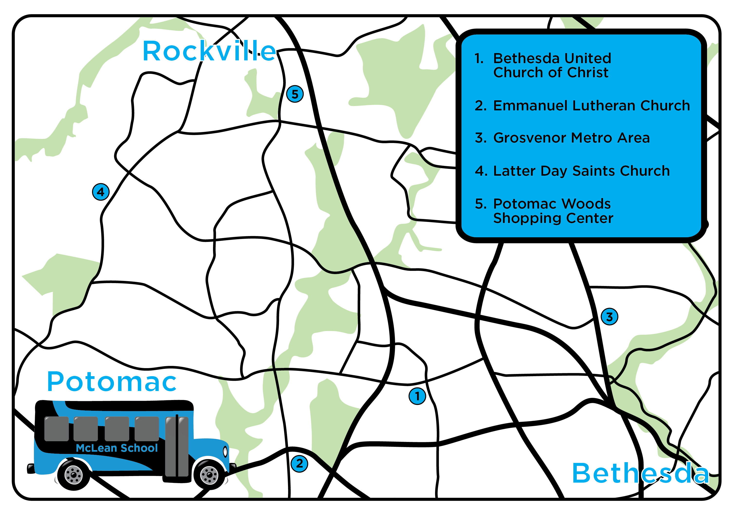 Map of McLean's cluster bus sites