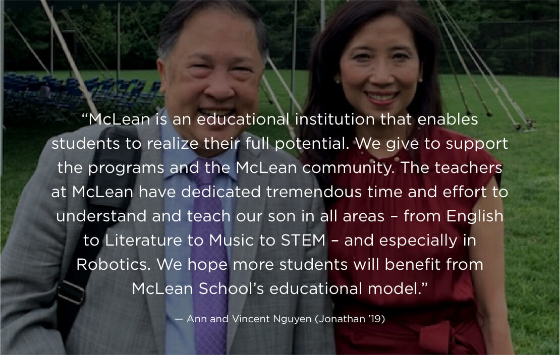 Picture of McLean parents with testimonial
