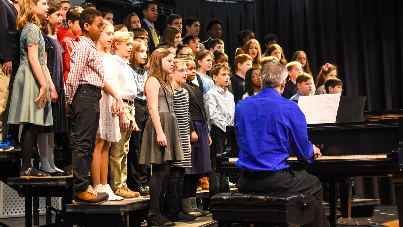 Fifth and sixth graders perform in chorus